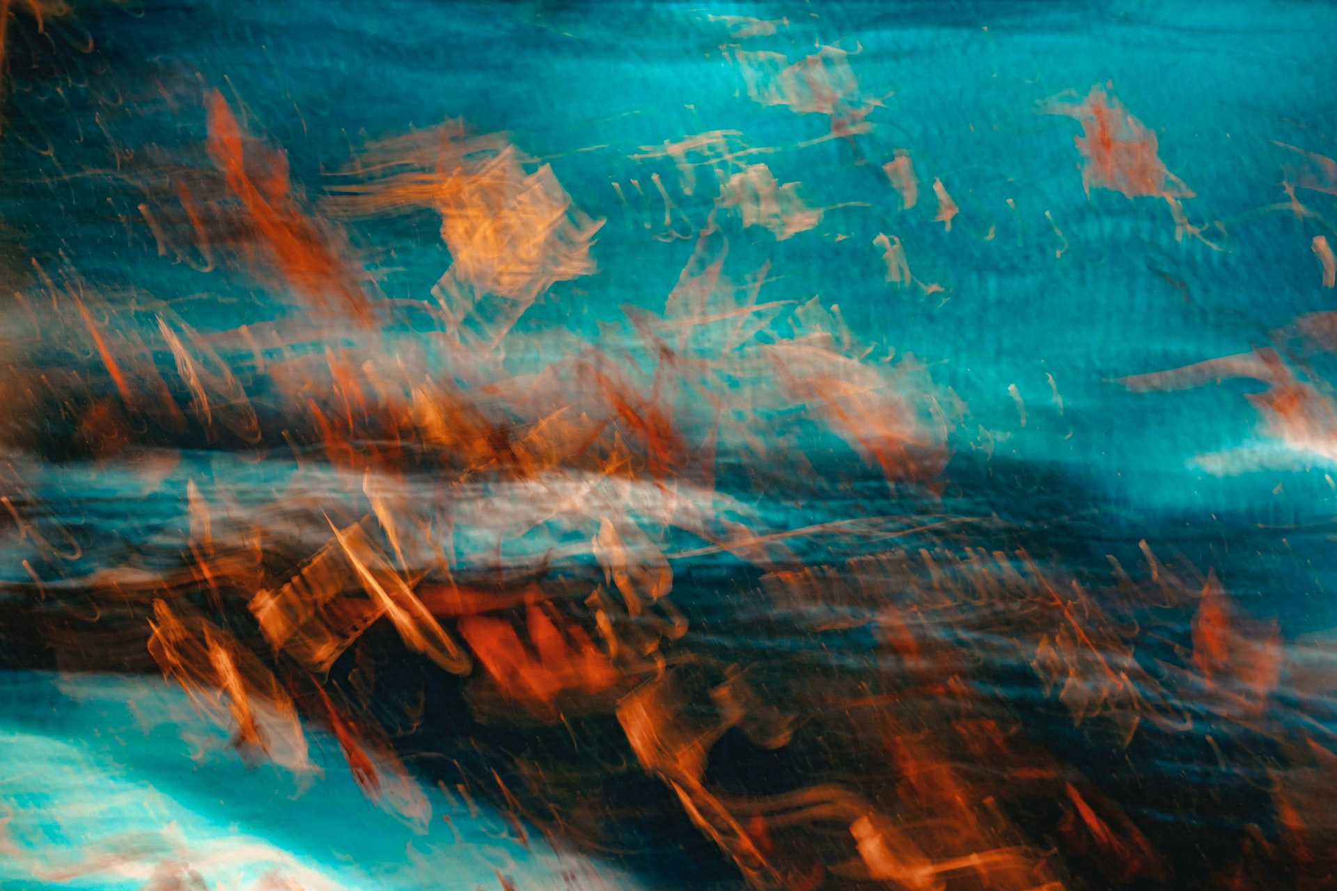 experimental photograph with blue and orange refracted light